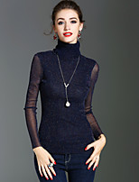 T-shirt Da donna Per eventi Per uscire Vintage Moda città Sofisticato Primavera Autunno,Tinta unita A collo alto Poliestere Manica lunga