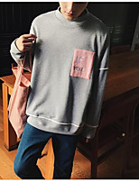 Men's Casual/Daily Sweatshirt Color Block Letter Round Neck Micro-elastic Cotton Long Sleeve Fall