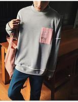 Felpa Da uomo Casual Monocolore Alfabetico Rotonda Media elasticità Cotone Manica lunga Autunno