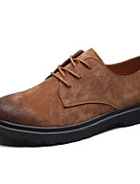 Men's Shoes PU Spring Fall Comfort Light Soles Oxfords Lace-up For Casual Office & Career Brown Gray Black