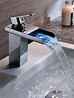Contemporary Vessel Waterfall Color-Changing with  Ceramic Valve Single Handle One Hole for  Chrome , Bathroom Sink Faucet