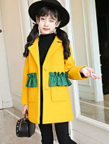 Girls' Color Block Trench Coat,Polyester Fall Winter Long Sleeve
