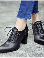 Women's Shoes Cowhide Winter Basic Pump Boots Stiletto Heel For Casual Dress Black