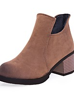 Women's Shoes Nubuck leather Fall Winter Comfort Boots Chunky Heel Round Toe Zipper For Outdoor Office & Career Dark Brown Gray Black
