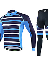 cheji® Cycling Jersey with Tights Men's Long Sleeves Bike Clothing Suits Quick Dry Breathability Stretchy Stripe Fashion Autumn/Fall