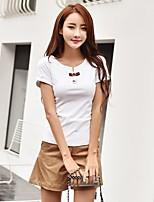 Women's Going out Cute T-shirt,Solid Print Round Neck Short Sleeves Cotton
