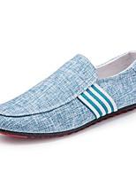 Men's Loafers & Slip-Ons Comfort Spring Fall Linen Casual Office & Career Flat Heel Blue Gray Black Flat