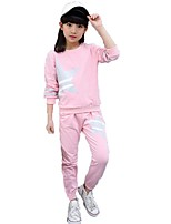 Girls' Stripes Solid Geometric Sets,Cotton Spring Fall Long Sleeve Clothing Set
