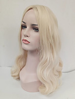 Women Synthetic Wig Capless Medium Length Wavy Blonde Middle Part Cosplay Wig Costume Wig