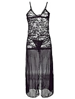 Women's Babydoll & Slips Nightwear,Sexy Lace Solid-Translucent Polyester Nylon