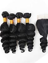 5Bundles 10-26inch Brazilian Human Virgin Hair Loose Wave 1Pcs 4*4 Lace Closure With 4 Bundles Hair Weft