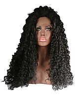 Women Synthetic Wig Lace Front Long Curly Black Natural Wigs Costume Wig