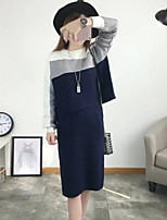 Women's Going out Vintage Spring T-shirt Skirt Suits,Color Block Round Neck Long Sleeve Stretchy