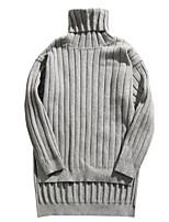 Standard Pullover Da uomo-Casual Tinta unita A collo alto Manica lunga Altro Primavera Inverno Medio spessore Media elasticità
