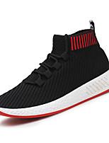 Men's Shoes Tulle Summer Fall Comfort Light Soles Sneakers Lace-up For Casual Outdoor Black/Red Gray Black