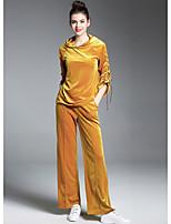 Damen Solide Street Schick Ausgehen Kapuzenshirt Hose Anzüge Herbst Lange Ärmel Mikro-elastisch