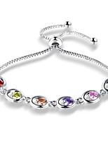 Women's Girls' Chain Bracelet Cubic Zirconia Fashion Adjustable Zircon Alloy Oval Jewelry For Party Daily