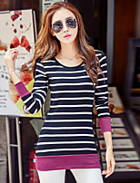 Women's Going out Casual/Daily Simple Spring Fall T-shirt,Striped Round Neck Long Sleeves Cotton
