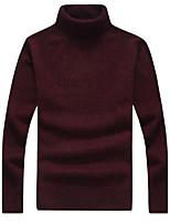 Men's Casual/Daily Simple Regular Pullover,Solid Turtleneck Long Sleeves Wool Cotton Fall Winter Medium Micro-elastic