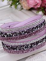 Жен. Кожаные браслеты Wrap Браслеты Регулируется Мода Кожа Стразы Круглый Бижутерия Назначение Свадьба Повседневные