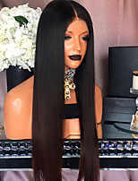 Women Human Hair Lace Wig Brazilian Remy Lace Front 130% Density With Baby Hair Straight Wig Black/Medium Browm Long Virgin