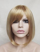 Women Synthetic Wig Capless Short Straight Strawberry Blonde/Bleach Blonde Highlighted/Balayage Hair Bob Haircut With Bangs Party Wig