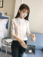 Women's Going out Casual/Daily Sexy Simple Street chic Spring Fall Shirt,Solid Embroidery Shirt Collar Long Sleeves Cotton Others Thin
