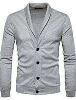 Normal Cardigan Homme Décontracté / Quotidien simple,Couleur Pleine Col de Chemise Manches Longues Polyester Automne Hiver Moyen