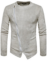 Men's Casual/Daily Simple Regular Pullover,Solid Round Neck Long Sleeves Cotton Fall Winter Medium Stretchy