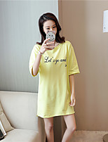 Women's Going out Simple Summer T-shirt,Letter Round Neck Half Sleeves Cotton Opaque