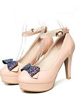 Femme Chaussures Polyuréthane Printemps Automne Confort Nouveauté Chaussures à Talons Talon Aiguille Bout rond Noeud Boucle Pour Mariage