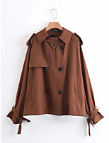 Women's Going out Casual/Daily Simple Active Street chic Spring Fall Trench Coat,Solid Shirt Collar Long Sleeve Regular Others