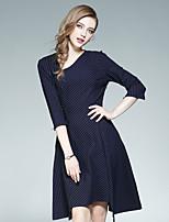 Fodero Vestito Da donna-Per uscire Casual Moda città A strisce Asimmetrico Asimmetrico Manica a 3/4 Cotone Autunno A vita alta Anelastico