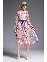 Swing Vestito Da donna-Casual Stoffe orientali Tinta unita Ricamato Rotonda Medio Manica lunga Poliestere Primavera Autunno A vita alta