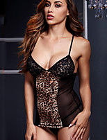 Women's Gartered Lingerie Nightwear,Sexy Animal Print-Thin Polyester