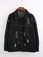Women's Going out Simple Winter Denim JacketSolid Shirt Collar Long Sleeve Regular Cotton