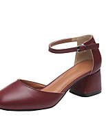 Women's Shoes Leatherette Summer Comfort Heels Chunky Heel Round Toe Split Joint For Casual Burgundy Beige Black