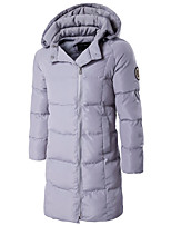 Men's Long Padded Coat,Simple Going out Solid-Polyester Cotton Long Sleeves