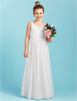 A-Line Princess Spaghetti Straps Floor Length Chiffon Junior Bridesmaid Dress with Sash / Ribbon Criss Cross by LAN TING BRIDE®