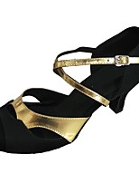 Women's Latin Faux Suede Sandal Indoor Customized Heel Black/Gold