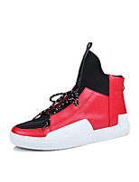 Men's Shoes Leatherette Fall Comfort Sneakers Lace-up For Casual Outdoor Red Black White