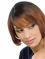 Women Synthetic Wig Capless Medium Straight Black/Medium Auburn Ombre Hair Dark Roots Bob Haircut Natural Wigs Costume Wig