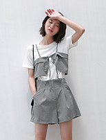 Women's Going out Casual/Daily Simple Summer T-shirt Pant Suits,Striped Round Neck Half Sleeves