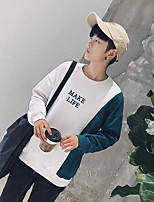 Men's Casual/Daily Sweatshirt Color Block Round Neck Micro-elastic Cotton Polyester Long Sleeve Fall