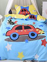 Duvet Cover Sets Cartoon 3 Piece Cotton Reactive Print Cotton 1pc Duvet Cover 1pc Sham 1pc Flat Sheet