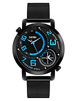 SKMEI Men's Dress Watch Fashion Watch Wrist watch Japanese Quartz Water Resistant / Water Proof Dual Time Zones Stainless Steel Band