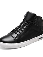 Men's Shoes Leatherette Fall Comfort Sneakers Lace-up For Casual Outdoor Black/White Black