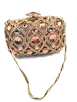 Women Bags Spring Fall Metal Evening Bag Crystal Detailing for Wedding Event/Party Champagne