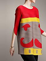 T-shirt Da donna Per uscire Casual Semplice Moda città Primavera Autunno,Monocolore Rotonda Poliestere Manica a 3/4 Medio spessore