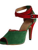 Women's Latin Flocking Sandal Performance Buckle Stiletto Heel Green Gray Black 3